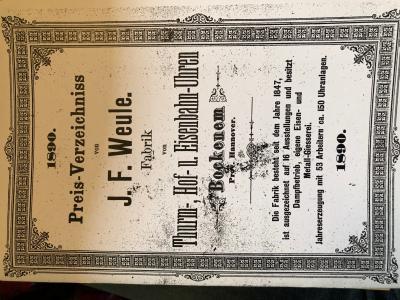 Preisverzeichniss von J. F. Weule. Fabrik von Thurm-, Hof- und Eisenbahn-Uhren (Nachdruck)