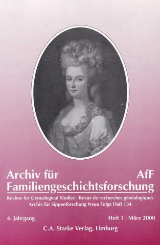 Archiv für Familiengeschichtsforschung - Einzelheft, Band 1 (2000 (4. Jg.))