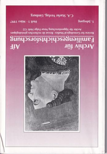 Archiv für Familiengeschichtsforschung - Einzelheft, Band 1 (1997 (1. Jg))