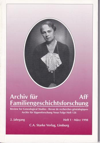 Archiv für Familiengeschichtsforschung - Einzelheft, Band 1 (1998 (2. Jg.))