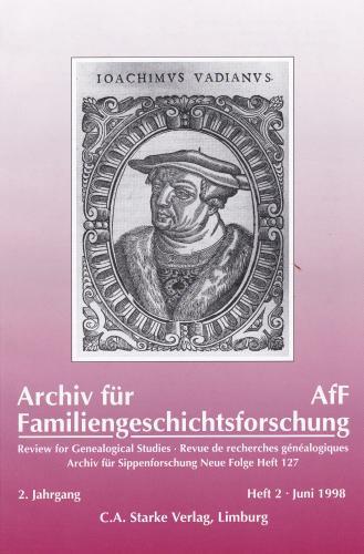 Archiv für Familiengeschichtsforschung - Einzelheft, Band 2 (1998 (2. Jg.))