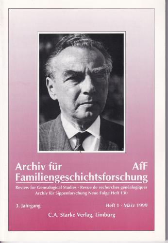 Archiv für Familiengeschichtsforschung - Einzelheft, Band 1 (1999 (3. Jg.))