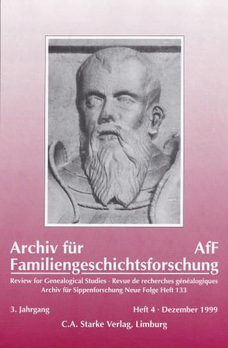 Archiv für Familiengeschichtsforschung - Einzelheft, Band 4 (1999 (3. Jg.))