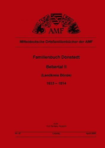 Familienbuch Dönstedt (Bebertal II) 1632 - 1814 (Landkreis Börde)