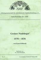Greizer Neubürger 1578 - 1836