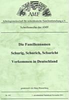Die Familiennamen Schurig, Schurich und Schuricht – Vorkommen in Deutschland