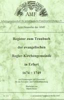 Register zum Traubuch der evangelischen Regler-Kirchengemeinde in Erfurt 1674-1749