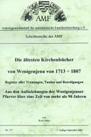 Die älteren Kirchenbücher von Wenigenjena von 1713-1807