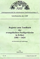 Register zum Taufbuch der ev. Predigerkirche in Erfurt 1581-1624