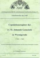 Copulationsregister der ev. St. Johannis Gemeinde zu Wernigerode