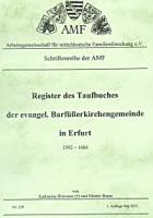 Register des Taufbuches der ev. Barfüßerkirchengemeinde in Erfurt 1592-1684