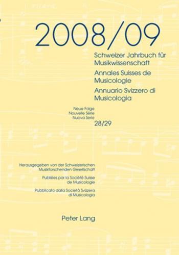 Schweizer Jahrbuch für Musikwissenschaft- Annales Suisses de Musicologie- Annuario Svizzero di Musicologia (Ebook - pdf)