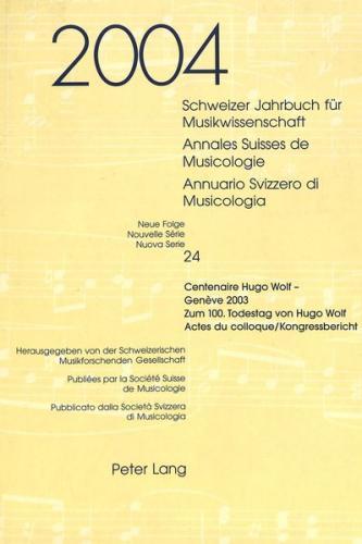 Schweizer Jahrbuch für Musikwissenschaft- Annales Suisses de Musicologie- Annuario Svizzero di Musicologia