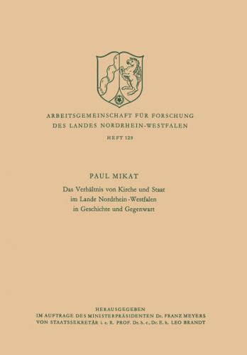 Das Verhältnis von Kirche und Staat im Lande Nordrhein-Westfalen in Geschichte und Gegenwart (Ebook - pdf)