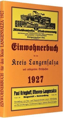 Einwohnerbuch Adressbuch Kreis LANGENSALZA und anliegenden Ortschaften 1927 in THÜRINGEN