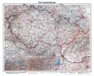 Historische Karte: Die Sudetenländer, 1938 (Plano)