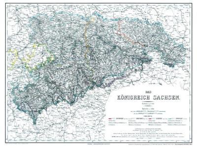 Historische Karte: Königreich Sachsen 1864 (plano)