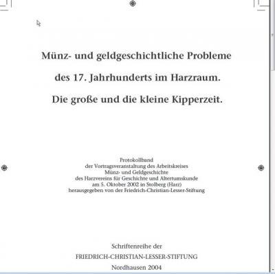 Münz- und geldgeschichtliche Probleme des 17. Jahrhunderts im Harzraum.
