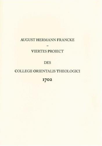 Viertes Proiect des Collegii Orientalis Theologici 1702