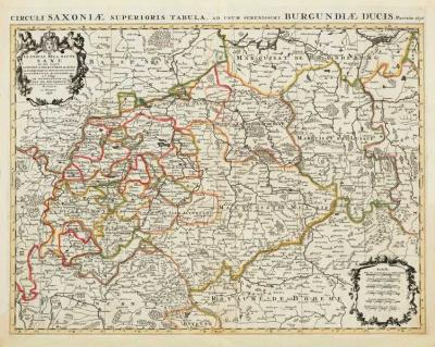 Historische Karte: Sachsen - Thüringen - Anhalt 1696 (Plano)