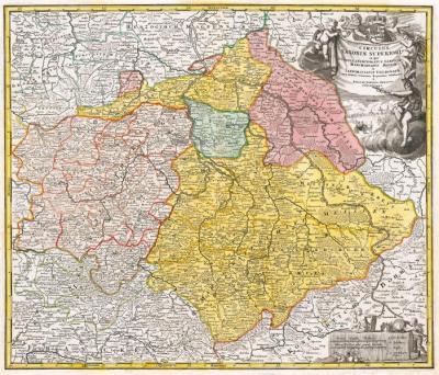 Historische Karte: Markgrafschaft Meissen, Landgrafschaft Thüringen, Fürstentum Anhalt, Kurfürstentum und Herzogtum Sachsen, Saalkreis, Grafschaft Barby und das Stift Quedlinburg um 1707